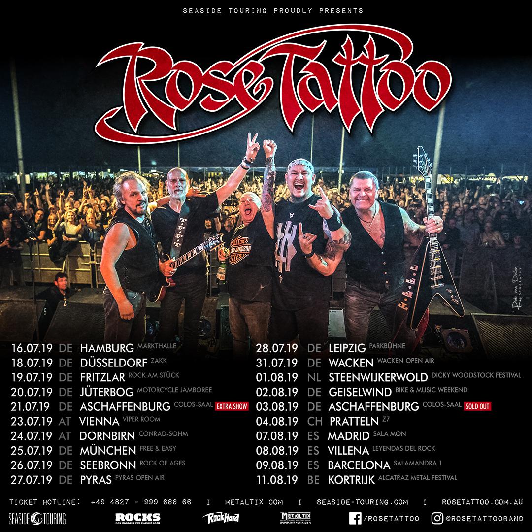 Rose Tattoo European Tour 2019 - Update - Rose Tattoo